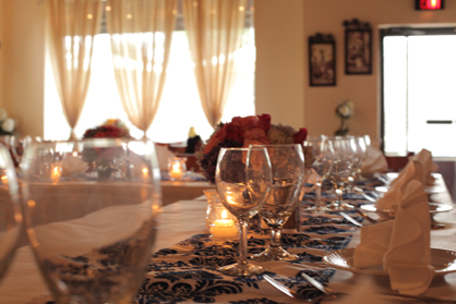 Elegant Table Settings and Draperies at Italian  Restaurant for Fine Dining in Farmingdale Long Island NY